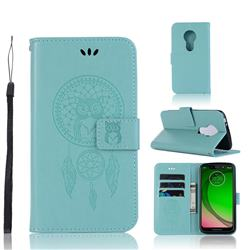 Intricate Embossing Owl Campanula Leather Wallet Case for Motorola Moto G7 Play - Green