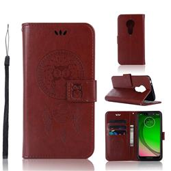 Intricate Embossing Owl Campanula Leather Wallet Case for Motorola Moto G7 Play - Brown
