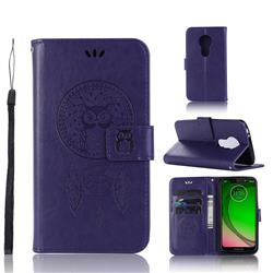 Intricate Embossing Owl Campanula Leather Wallet Case for Motorola Moto G7 Play - Purple