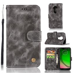 Luxury Retro Leather Wallet Case for Motorola Moto G7 Play - Gray
