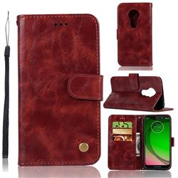 Luxury Retro Leather Wallet Case for Motorola Moto G7 Play - Wine Red