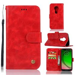 Luxury Retro Leather Wallet Case for Motorola Moto G7 Play - Red