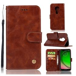 Luxury Retro Leather Wallet Case for Motorola Moto G7 Play - Brown