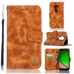 Luxury Retro Leather Wallet Case for Motorola Moto G7 Play - Golden