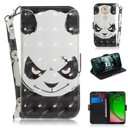 Angry Bear 3D Painted Leather Wallet Phone Case for Motorola Moto G7 Play