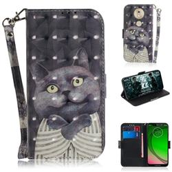 Cat Embrace 3D Painted Leather Wallet Phone Case for Motorola Moto G7 Play