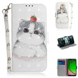 Cute Tomato Cat 3D Painted Leather Wallet Phone Case for Motorola Moto G7 Play