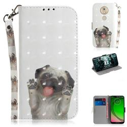 Pug Dog 3D Painted Leather Wallet Phone Case for Motorola Moto G7 Play