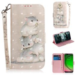 Three Squirrels 3D Painted Leather Wallet Phone Case for Motorola Moto G7 Play