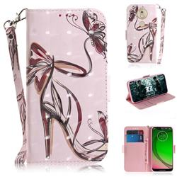 Butterfly High Heels 3D Painted Leather Wallet Phone Case for Motorola Moto G7 Play