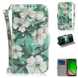 Watercolor Flower 3D Painted Leather Wallet Phone Case for Motorola Moto G7 Play