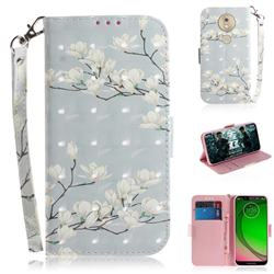 Magnolia Flower 3D Painted Leather Wallet Phone Case for Motorola Moto G7 Play