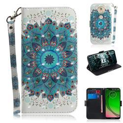 Peacock Mandala 3D Painted Leather Wallet Phone Case for Motorola Moto G7 Play