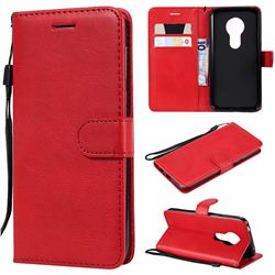 Retro Greek Classic Smooth PU Leather Wallet Phone Case for Motorola Moto G7 Play - Red