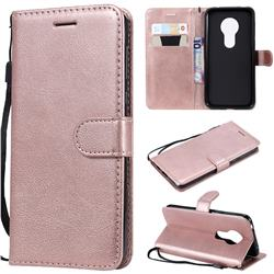 Retro Greek Classic Smooth PU Leather Wallet Phone Case for Motorola Moto G7 Play - Rose Gold