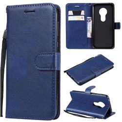 Retro Greek Classic Smooth PU Leather Wallet Phone Case for Motorola Moto G7 Play - Blue