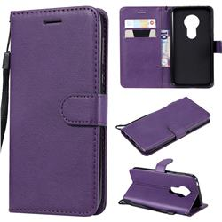 Retro Greek Classic Smooth PU Leather Wallet Phone Case for Motorola Moto G7 Play - Purple