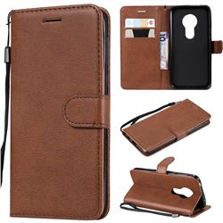 Retro Greek Classic Smooth PU Leather Wallet Phone Case for Motorola Moto G7 Play - Brown