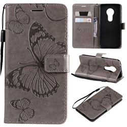Embossing 3D Butterfly Leather Wallet Case for Motorola Moto G7 Play - Gray