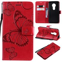 Embossing 3D Butterfly Leather Wallet Case for Motorola Moto G7 Play - Red