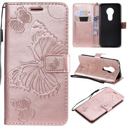 Embossing 3D Butterfly Leather Wallet Case for Motorola Moto G7 Play - Rose Gold