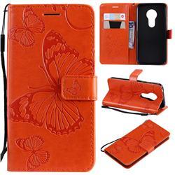 Embossing 3D Butterfly Leather Wallet Case for Motorola Moto G7 Play - Orange