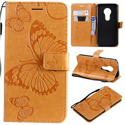 Embossing 3D Butterfly Leather Wallet Case for Motorola Moto G7 Play - Yellow