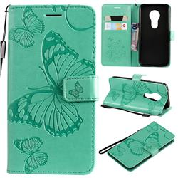 Embossing 3D Butterfly Leather Wallet Case for Motorola Moto G7 Play - Green