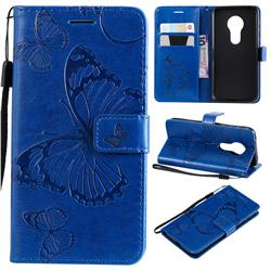 Embossing 3D Butterfly Leather Wallet Case for Motorola Moto G7 Play - Blue