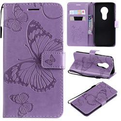 Embossing 3D Butterfly Leather Wallet Case for Motorola Moto G7 Play - Purple