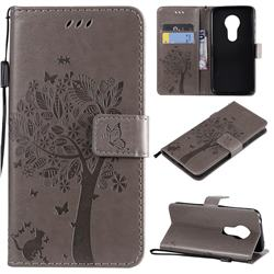 Embossing Butterfly Tree Leather Wallet Case for Motorola Moto G7 Play - Grey