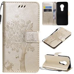 Embossing Butterfly Tree Leather Wallet Case for Motorola Moto G7 Play - Champagne
