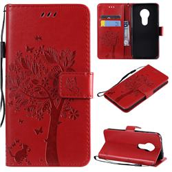 Embossing Butterfly Tree Leather Wallet Case for Motorola Moto G7 Play - Red