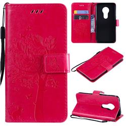 Embossing Butterfly Tree Leather Wallet Case for Motorola Moto G7 Play - Rose