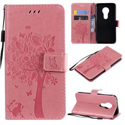 Embossing Butterfly Tree Leather Wallet Case for Motorola Moto G7 Play - Pink