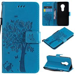 Embossing Butterfly Tree Leather Wallet Case for Motorola Moto G7 Play - Blue