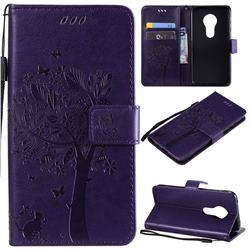 Embossing Butterfly Tree Leather Wallet Case for Motorola Moto G7 Play - Purple