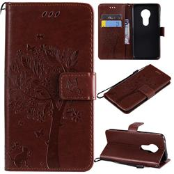 Embossing Butterfly Tree Leather Wallet Case for Motorola Moto G7 Play - Coffee