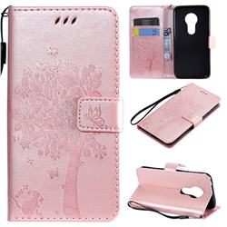 Embossing Butterfly Tree Leather Wallet Case for Motorola Moto G7 Play - Rose Pink
