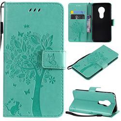 Embossing Butterfly Tree Leather Wallet Case for Motorola Moto G7 Play - Cyan