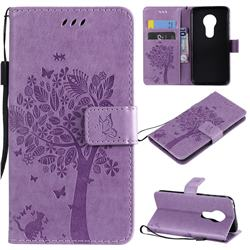 Embossing Butterfly Tree Leather Wallet Case for Motorola Moto G7 Play - Violet
