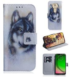 Snow Wolf PU Leather Wallet Case for Motorola Moto G7 Play