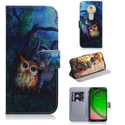 Oil Painting Owl PU Leather Wallet Case for Motorola Moto G7 Play