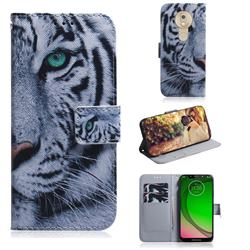 White Tiger PU Leather Wallet Case for Motorola Moto G7 Play