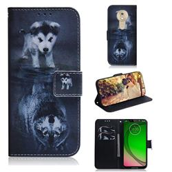 Wolf and Dog PU Leather Wallet Case for Motorola Moto G7 Play