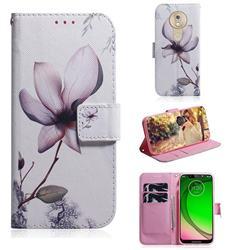 Magnolia Flower PU Leather Wallet Case for Motorola Moto G7 Play