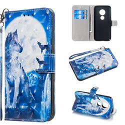 Ice Wolf 3D Painted Leather Wallet Phone Case for Motorola Moto G7 Play