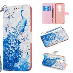 Blue Peacock 3D Painted Leather Wallet Phone Case for Motorola Moto G7 Play