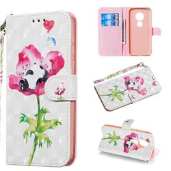 Flower Panda 3D Painted Leather Wallet Phone Case for Motorola Moto G7 Play