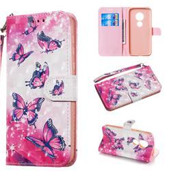 Pink Butterfly 3D Painted Leather Wallet Phone Case for Motorola Moto G7 Play